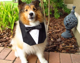 Dog Tuxedo Basic Black Bow Tie Bandana Vest Wedding Tux