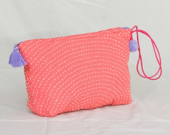 Pink Cosmetic Bag, Pink Fabric Purse, Pink Fabric Clutch, Pink Purse, Pink Hand Stitched Cosmetic Bag, Kantha Cosmetic Bag, Pink Kantha Bag