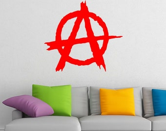 Anarchy logo vinyl wall decal + your name GIFT decal