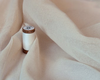 Organic Cotton Muslin - Unbleached Cotton - Undyed Fabric - GOTS Certification - 150cm wide (59'')