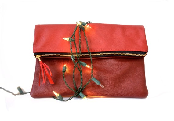 Holiday leather clutch. Two toned red leather fold over clutch. Zipper top leather purse or handbag. Bright and dark red with gold zipper.