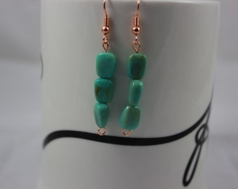 Green faux turquoise earrings with copper ear wires