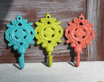Decorative Wall Hooks, Bathroom Hooks, Aquamarine Blue - Lime Green - Coral - Wall Hooks, Towel Hooks, Nursery Decor, Cast Iron Set of 3