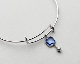 Sapphire Bangle Bracelet with Pearl, Adjustable Bangle, Expandable Bracelet, Bridesmaid Jewelry, Mother's Day,