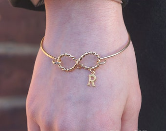 Personalized Infinity Bangle Bracelet, Choose Your Initial, Infinity Bangle, Gold Bangle, Infinity Bracelet, Gold Infinity, Gold Bracelet