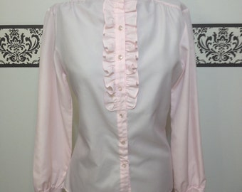 1960's Baby Pink Secretary Blouse  by Paris Station Vintage, Size Small, Vintage Pink Hipster Blouse, 60's Pink Secretary Shirt, Secretary