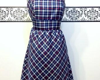 1990's Navy Plaid Rockabilly Day Dress, Size 10, Vintage Pin Up Strapless Dress w/ Bow, Engagement Photo Dress, Rockabilly Sundress