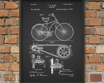 Bicycle Patent Wall Art Poster - Cyclist Gift Idea - Cycling Wall Art - Home Decor