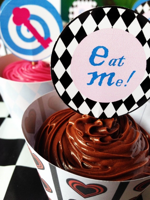 Alice in Wonderland - Cupcake - Toppers - Eat Me - Tea Party - Girls Birthday - Bridal - Baby Shower - PRINTABLE - PDFs - Instant Download