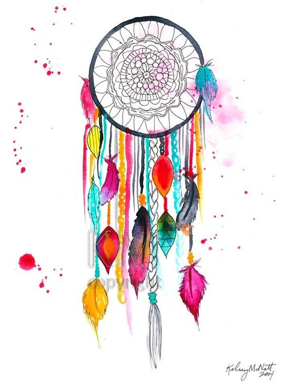 Dream Catcher 3 Print Fr Original Aquarell Malerei