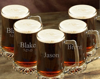 Personalized Beer Mug Set of 5 - Groomsmen Gift - Engraved 25oz Sports Mug Set of 5 - Wedding Party Gifts - Gifts for Him - GC117X5