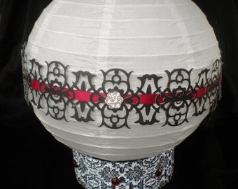 Wedding centerpiece lantern, red black white, LIGHTS up, CUSTOM COLORS available