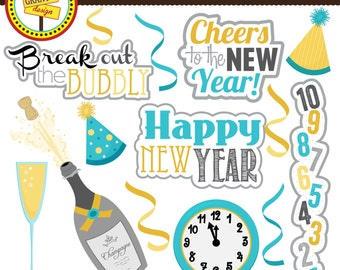 New Year's Clipart - New Year Clip Art - Cute Digital Clipart- Personal Use - Commercial Use - Card Design, Scrapbooking, Web Design