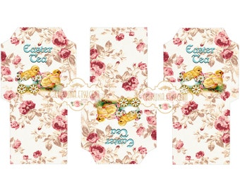 EASTER TEA - Printable Download Digital Collage Sheet Tea Bag Holder Envelopes - Paper Cut Template