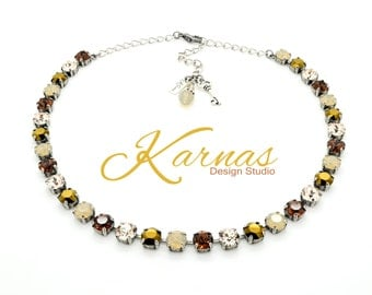 NEUTRAL MIX 8mm Crystal Necklace Made With Swarovski Elements *Pick Your Finish *Karnas Design Studio *Free Shipping*
