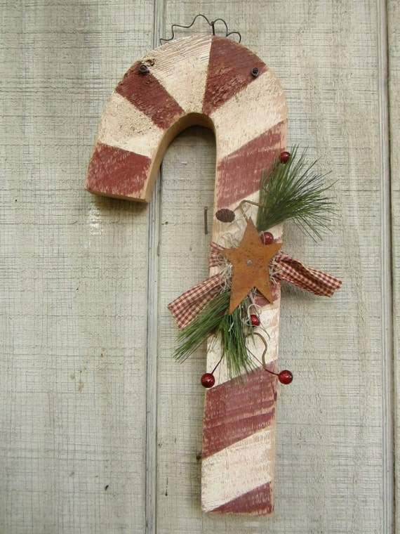 Candy Cane, Christmas Decor, Primitive Candy Cane, Rustic Candy Cane, Rustic Christmas Decor, Primitive Christmas Decor, Wooden Candy Cane