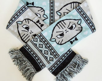 Angry Cat Knit Scarf