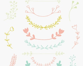 laurel branches wreath clip art and floral laurel branches us 7 00 ...