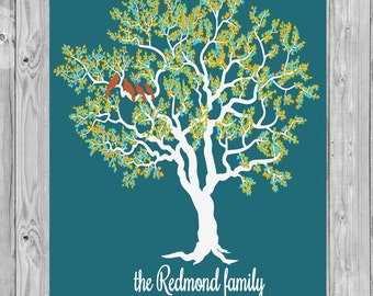 PERSONALIZED Family Tree Print with Birds  115