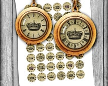 Royal Clocks 1 inch 20mm 18mm 16mm 12mm Printable Circle Images for Earrings, Cuff Links Digital Collage Sheet - Instant Download