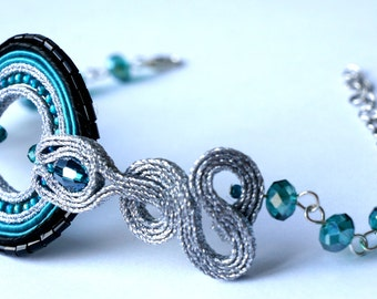 Bracelet (technique soutache, beads, crystals) BR 003