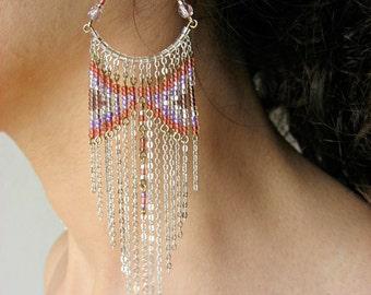Wisteria Beaded Earrings  ~ Chandelier Earrings ~ Bohemian Jewelry ~ Gypsy Jewelry