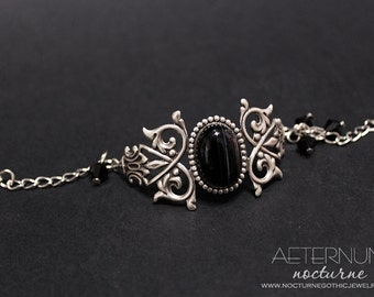 Black Gothic bracelet - in silver with natural black agate and black Swarovski crystal beads - Victorian Gothic Jewelry