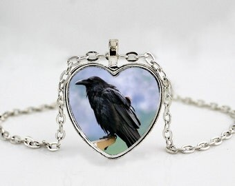 sRaven Pendant Necklace //Crow Jewelry //  Blackbird // Bird Pendant Necklace // Bird Jewelry