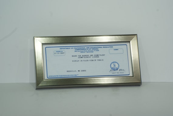 cosmetology certificate frame with stand glass and hanger for professionals certificates tax license