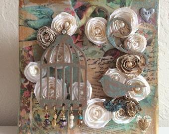 Birdcage Art, Collage, Paper, Bird, Handmade, Pearls, Love