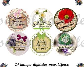 """images digitales rétro """"Fleurs."""", image pour bijoux, cabochon, médaillon, scrapbooking, rose violette coquelicot"""