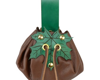 Small Round Pouch with Leaf Closure for SCA, LARP, Cosplay, Reenactment - #DK7115