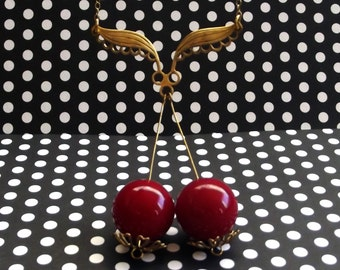 Lace Red Cherry Necklace // Vintage Pin-up & 50's Retro Inspired // Fruit Accessories // Red Rockabilly Jewelry // 14k Gold Fill Chain