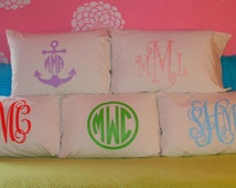 Monogrammed Pillow Case ~ Girl's Personalized Bed Pillow