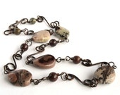Jasper Necklace with Hand Wrought Copper Links, 16-inch Natural Stone Necklace, Burgundy Grey Mauve, Earthy Rustic Style, Everyday Jewelry