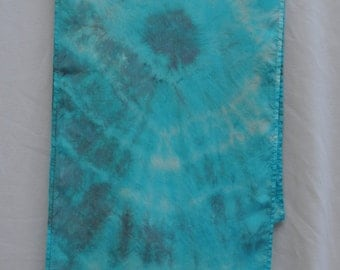 Silk Scarf - Hand Dyed: (Turquoise & Charcoal Gray)