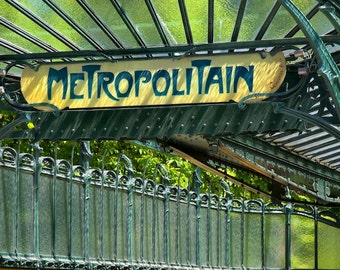 Paris photography, Paris metro, metro sign, art nouveau, orange, green, French wall art, Paris decor, home decor, fine art print