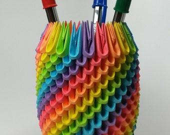 Rainbow 3D Origami Pencil Holder