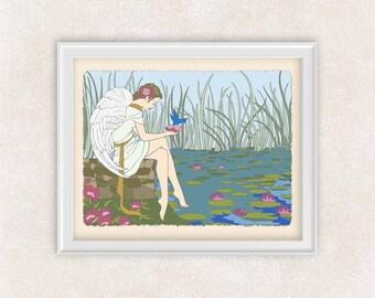 Angel Holding a Bird Art Print - 8x10 - Home Decor - Office Art - Item #523