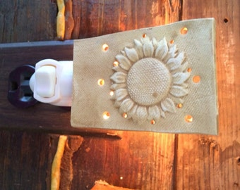 Sunflower Night Light with pottery shade