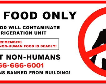 Human Food Only -  Huge 8x3 No Aliens Fridge Magnet - scifi extraterrestrial ufo roswell district 9 #2521
