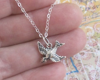 Little Bird In Flight Necklace Sterling Silver Charm Pendant Chain DJStrang Boho Minimalist Freedom Guardian Sparrow
