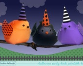 halloween party birds - centerpiece decorations and whimsical ornaments, - printable PDF - INSTANT download