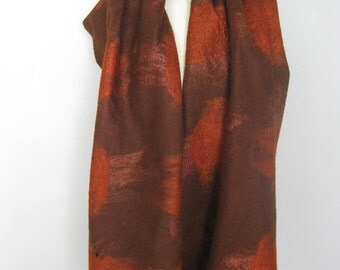 SALE Felted Scarf Shawl Wool Silk Brown Pumpkin Yellow Reversible