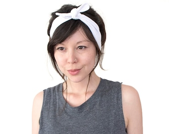 Tie Up Headscarf // White // Stretch Headband // Hair Wrap // Turban Headband // Yoga Hairband // Workout Headband