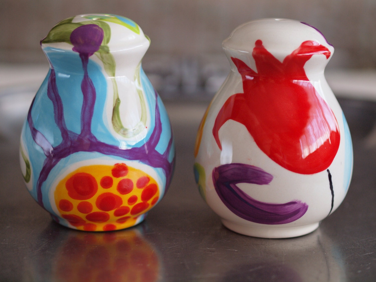 Salt and pepper shakers colorful salt pepper by romyandclare Colorful salt and pepper shakers