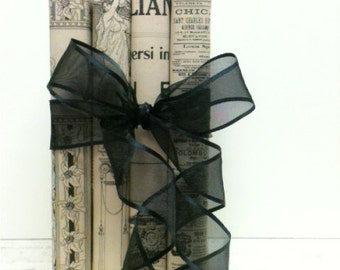 Black and Cream Wedding, Italian Decor, Bridal Shower, Modern Office, San Francisco, Repurpose book, Old Book Decoration, Trending Decor
