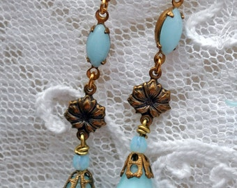 Marie Antoinette blue, small dangle earrings, delicate, antique gold, Swarovski crystal, suitable for small ear lobes. Bell flowers