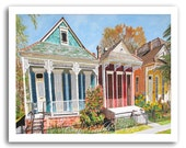 "New Orleans Art Shotgun House Art ""NOLA Dryade St."" 11x14"" and 13x19"" Print Signed and Numbered Buy Any Two Get One Free"