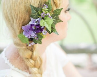 purple flower hair clip, ivy hairpiece, green hair accessories, purple hairpiece, wedding hair accessory -AISLING- floral hair comb, rustic